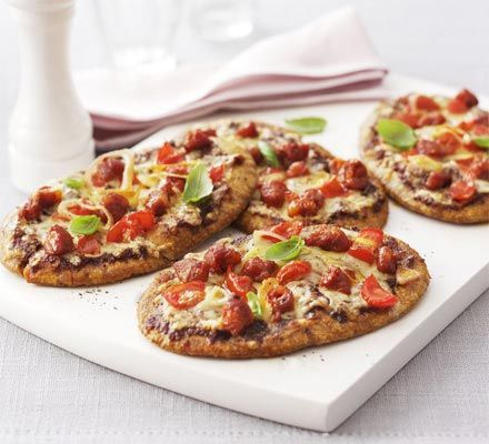Pitta bread pizzas, ready in minutes and the little ones can help too!