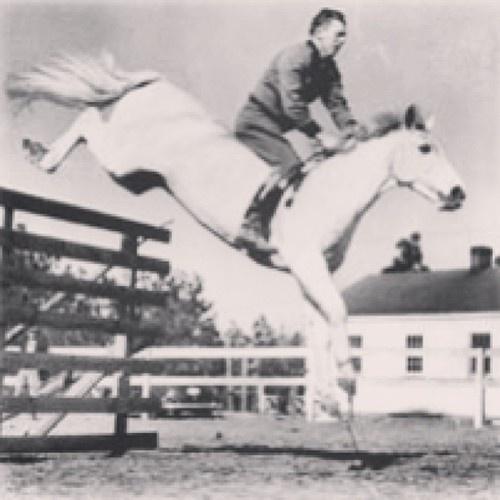Harry De Leyer riding Snowman without tack