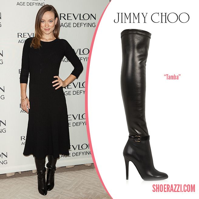 Olivia Wilde In Jimmy Choo Black Leather Tamba Over The