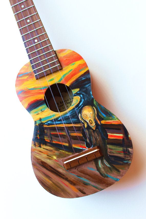Ready to ship, hand-painted ukulele featuring Edvard Munchs iconic painting, The…