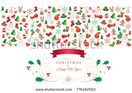 Christmas and Happy New Year greeting card with christmas symbols ornament, reindeer, snowflakes, snowman, christmas ball, gingerbread, icons, winter holiday banner logo isolated element illustration