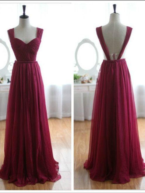 Wine Red Burgundy Chiffon Prom Dress/Bridesmaid Dress