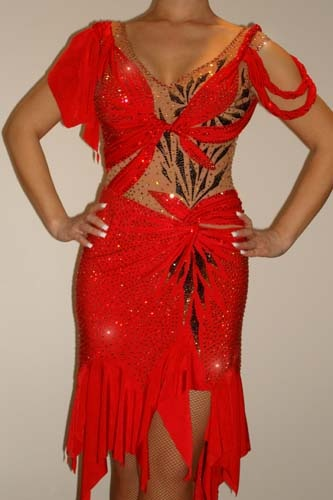 Red Maria McGill Latin Rhythm Costume For Sale, Dance Costumes For Sale, Dance Gowns for sale