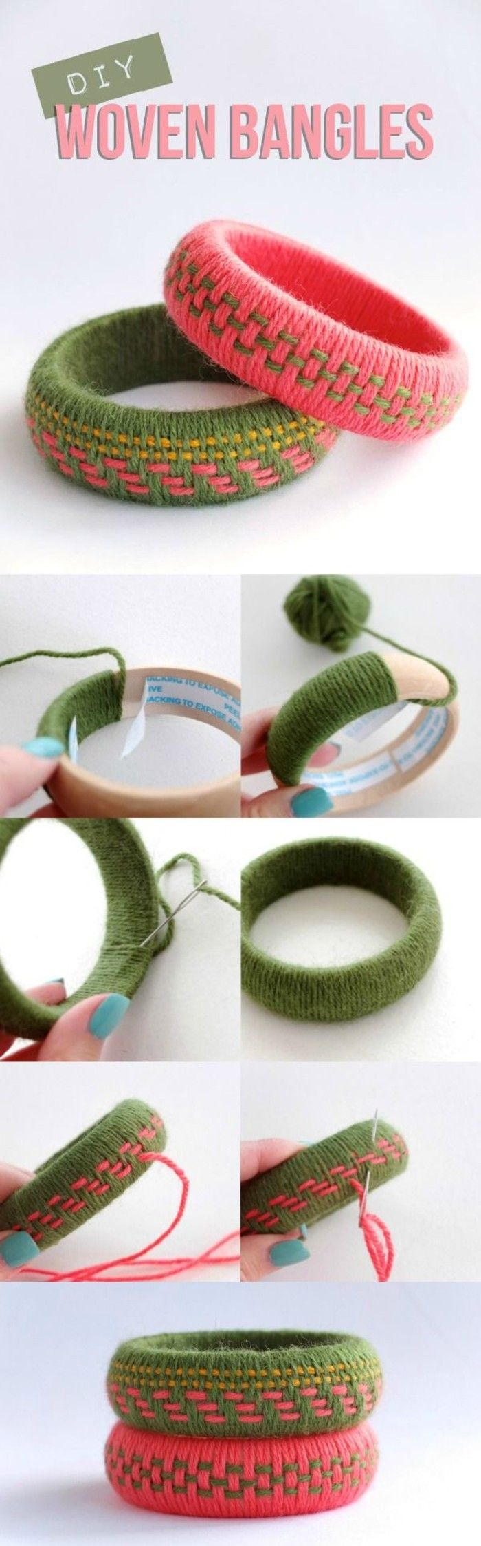 利用旧毛线制作自己喜欢的手镯