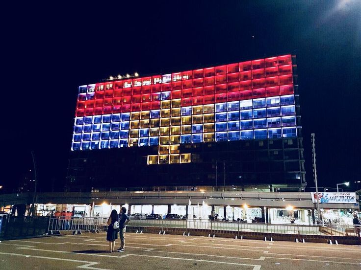 Tel Aviv municipality building lit up in colors of the Egyptian flag in solidarity with 235 murdered victims of the horrific ISIS terror attack on a Sufi mosque in the Sinai