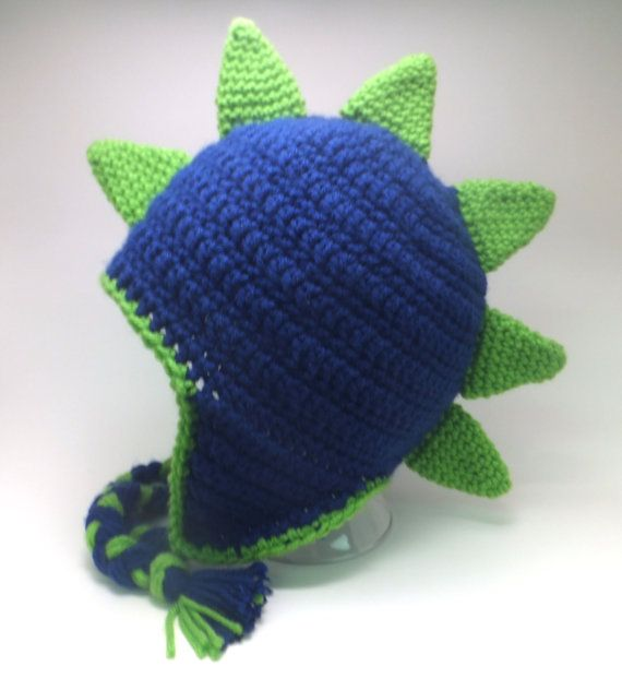 YOUTH Green and Navy Dinosaur Hat or Dragon Hat - Custom made crochet hat - Boys Hat OR Girls Hat