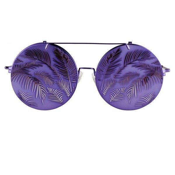 Linda Farrow ($345) ❤ liked on Polyvore featuring accessories, eyewear, sunglasses, purple glasses, linda farrow glasses, linda farrow sunglasses, round frame glasses and rainbow sunglasses