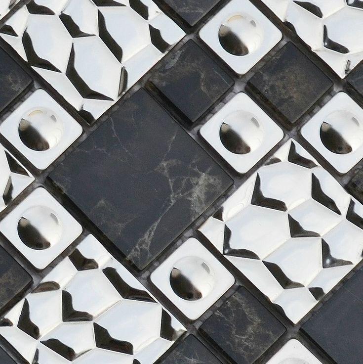 Glass Metal Mosaic Tiles Backsplash Ssmt121 Black Glass Stainless Steel Mosaic 3d Mosaic Wall Tiles Mosaics
