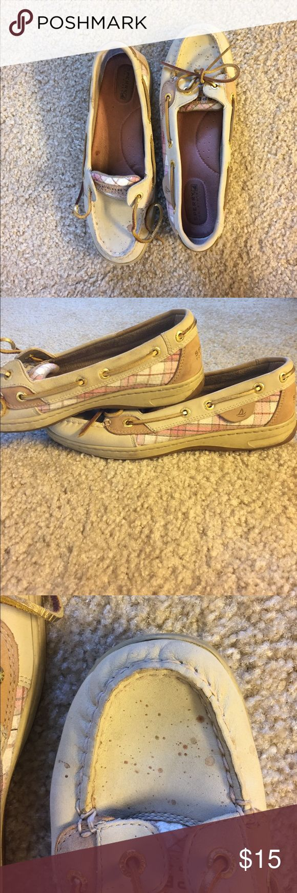 Sperry Top-Sider Pink sequin boat shoe size 8M Tan Sperrys with pink sequin tongue and sides. Gold laces. Splatter on the front of each shoe, could probably be cleaned up with leather cleaner. Normal wear and tear. Sperry Top-Sider Shoes Flats & Loafers