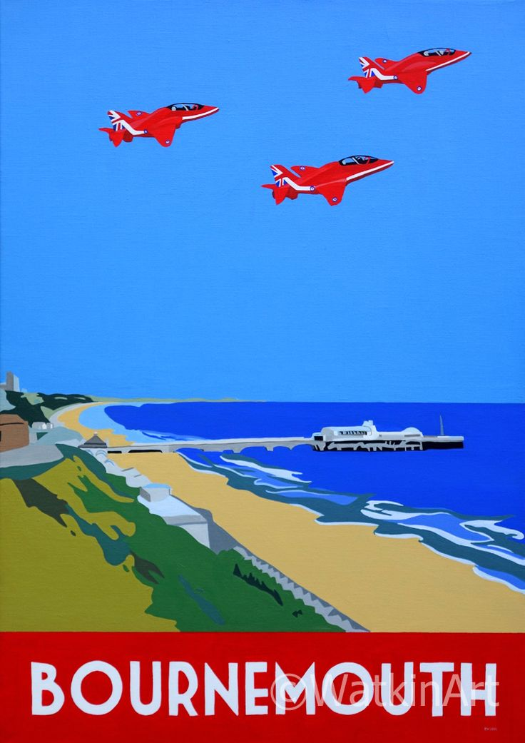 Bournemouth Pier with Red Arrows. Original painting and prints www.watkinart.co.uk