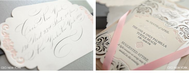 Luxury Wedding Invitations by Ceci New York. Features hand calligraphy, letterpress printing, ribbons, laser-cut and a silver and pink color palette. www.cecistyle.com  laser-cut, emblem, metal, silver, monogram, calligraphy, box, hand, invitation, ribbon, gatefold, letterpress, foil stamp, one&only, palmilla, mexico, los cabos, stacked cards, schedule, events