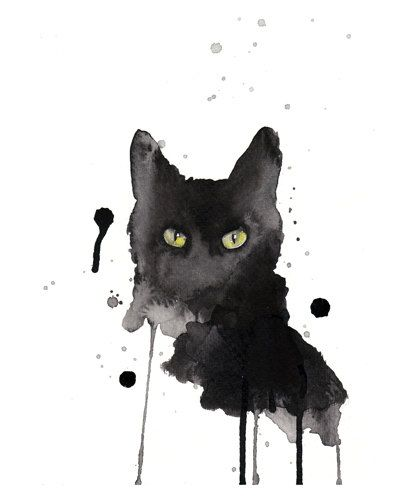 Black cat  art print  8x10  archival  giclee  black by artillia