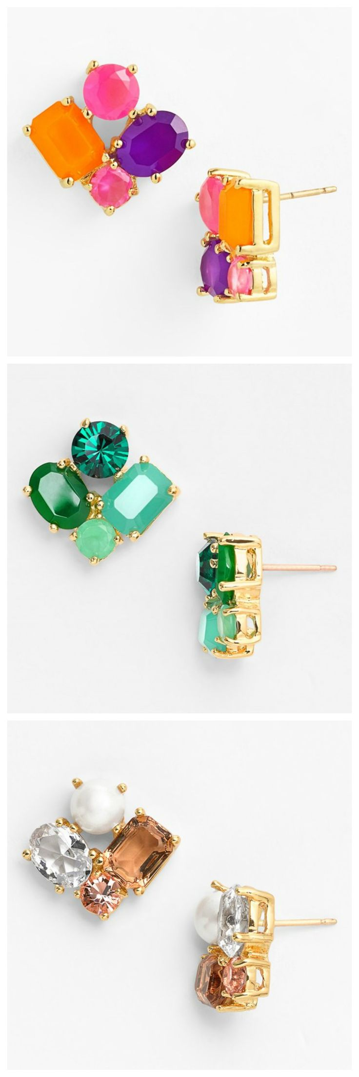 Such pretty clusters of sparkly gems | Kate Spade stud earrings.