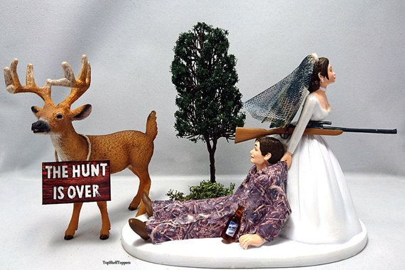 The Hunt Is Over Funny Hunting Wedding Cake by TopShelfToppers