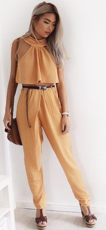 #summer #ultimate #outfits |  Tangerine Crop + Pants