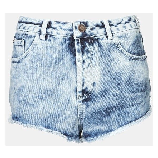 Women's Topshop Moto 'Holly' Acid Wash Denim Shorts ($56) ❤ liked on Polyvore featuring shorts, bottoms, pants, short, light denim, topshop shorts, jean shorts, acid shorts, retro shorts and denim shorts