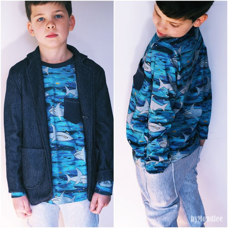 Miekkie fabric with shark, and beautiful shirt made by ByMondfee.