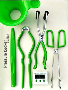 Presto 7 Function Canning Kit  This 6-piece accessory set includes handy tools for all your canning needs.  Includes a Digital Timer, Canning Funnel, Combination Bubble Remover/Lid Lifter, Jar Lifter, Jar Wrench, and Kitchen Tongs.