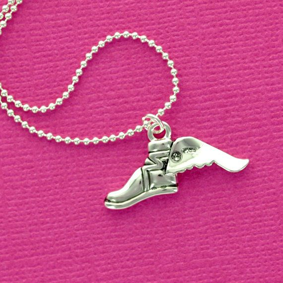 Winged CROSS COUNTRY Running SHOE Charm Necklace by KissAFewFrogs, $7.50