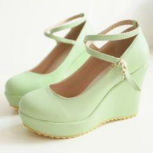 Enmayer nuevas mujeres bombas dulce viento colegio de la plataforma bombas moda zapatos de las cuñas mujeres del gladiador zapatos de mujer moda venta caliente(China (Mainland))