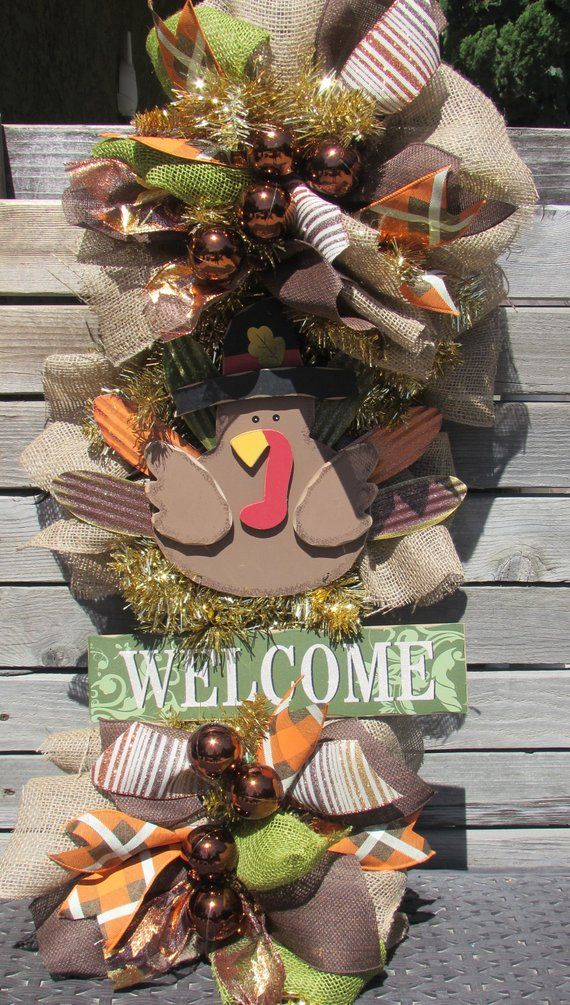 36 welcome turkey wreath welcome thanksgiving door decor fall turkey door decor thanksgiving teardrop gold welcome turkey fall door swag