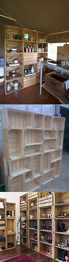 Los estantes y estantes de cajas idea .Otlichnaya para casas y edificios anexos!    Hágase
