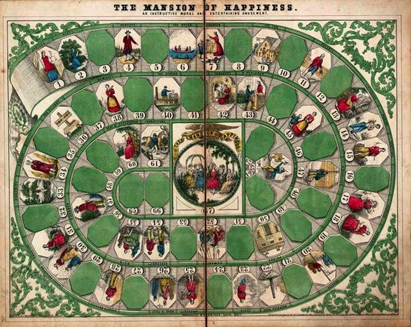 """The first game published in the United States, The Mansion of Happiness, """"An Instructive Moral and Entertaining Amusement."""" Via the U.S. Library of Congress.  Board game life is based off of"""