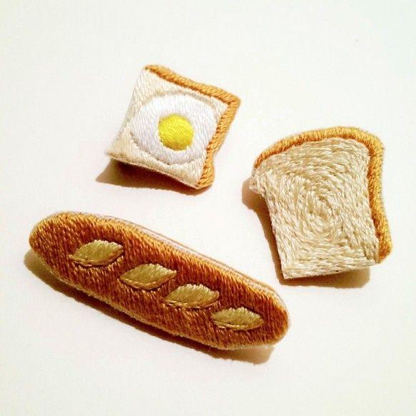 パン刺繍ブローチ