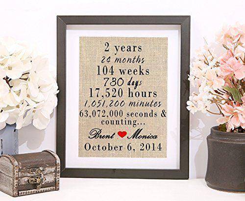 Handmade 2nd Year Anniversary Gift, 2nd Year Wedding Anniversary, Personalized Anniversary Gift, Burlap Print, 2nd Anniversary Gifts