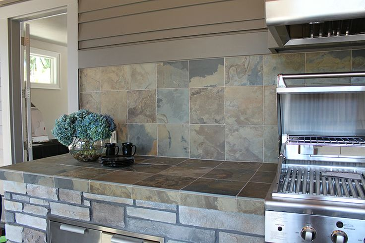 Slate, Tile countertops and Love this on Pinterest