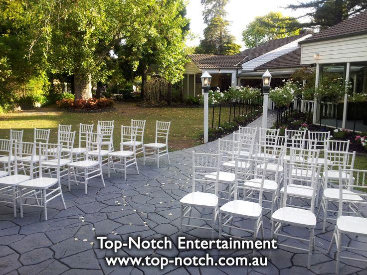 Outdoor wedding ceremony, gazebo location.  www.top-notch.com.au  www.facebook.com/WeddingDJTopNotch