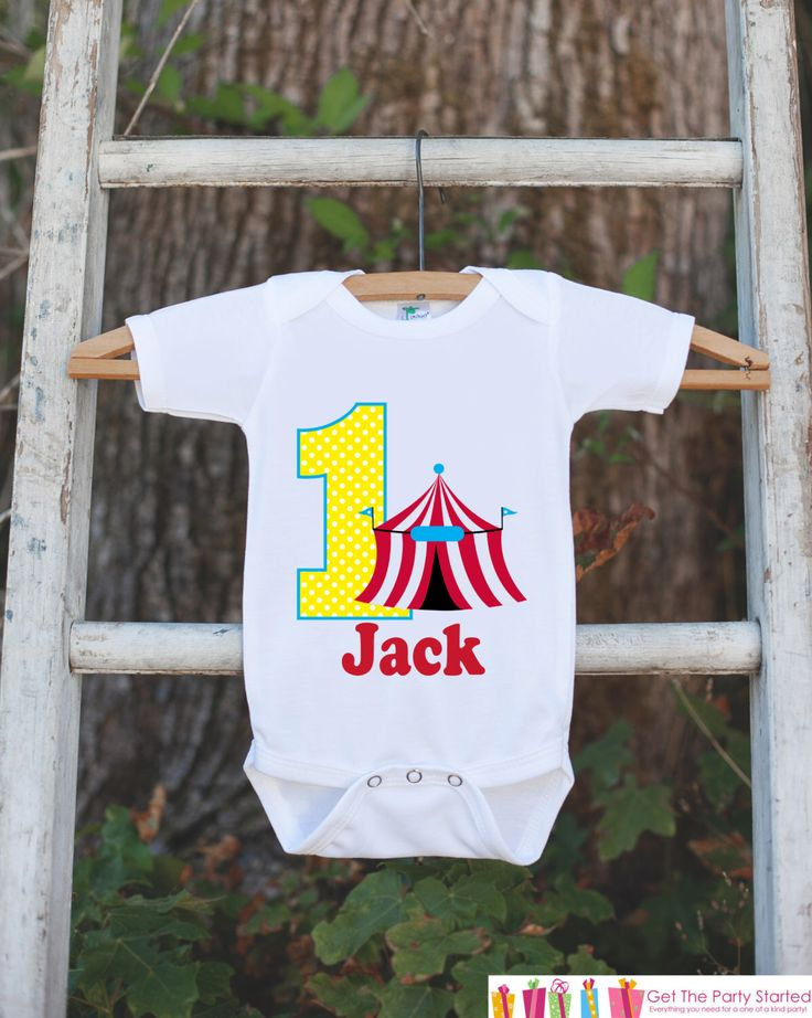 First Birthday Carnival Outfit - Personalized Carnival Bodysuit For Boy's 1st Birthday Party - Circus Onepiece Birthday Shirt w/ Name & Age by getthepartystarted on Etsy https://www.etsy.com/listing/240792591/first-birthday-carnival-outfit