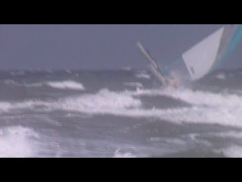 Sailing Hobie Tandem Island solo into surf with 25 knot onshore wind - YouTube