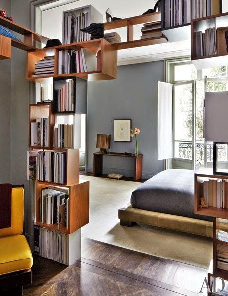 fantastic #bookshelf in a high #passthrough makes for a mini #homelibrary