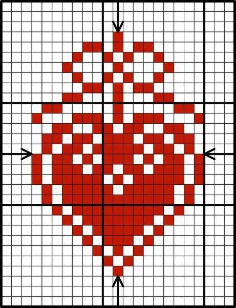 Scandinavian Red & White Heart, designed by Lesley Teare, from her blog.