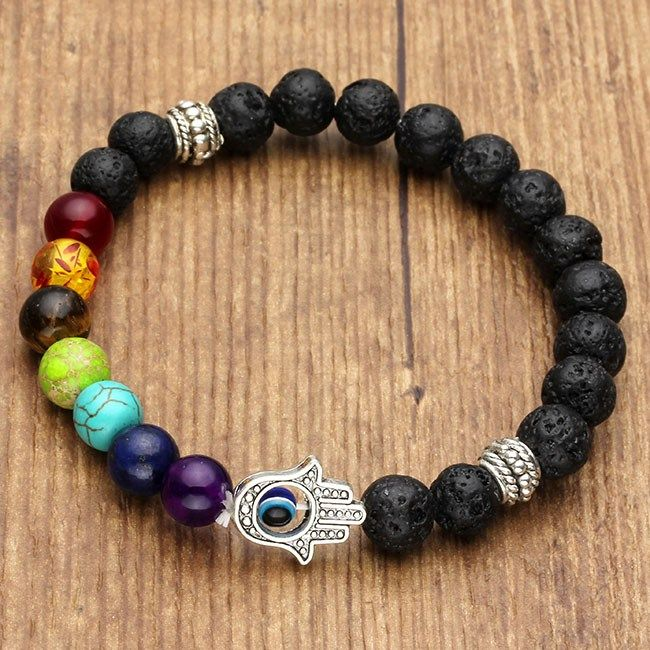 Beaded Bracelet 8mm Lava Stone Beads 7 Chakra Healing Balance Hamsa Bracelets Pinterest And