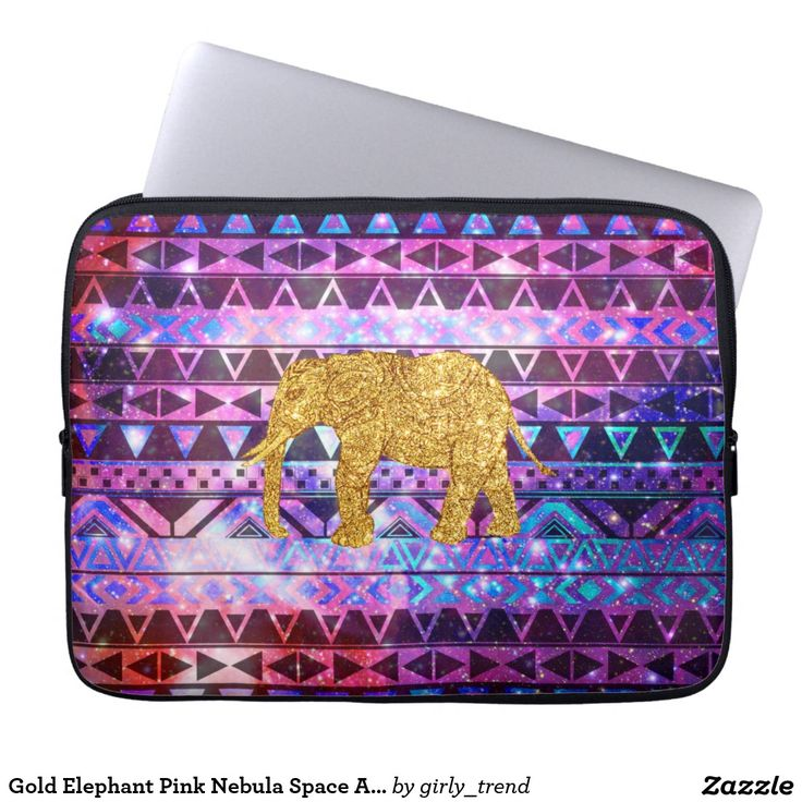 Gold Elephant Pink Nebula Space Aztec Pattern Computer Sleeve