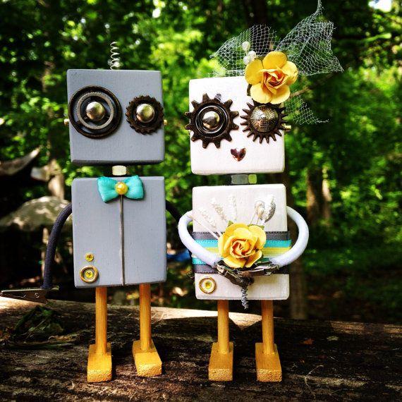 Robot mariée et le marié Wedding Cake Topper gris, jaune, bleu sarcelle