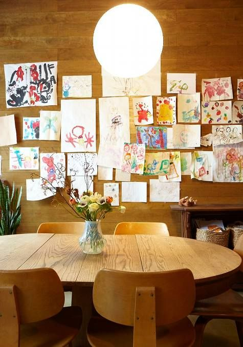 wallKid Art, Dining Spaces, Dining Room Wall, Room Kids, Families Room, Gallery Wall, Child Art, Art Wall, Kids Artworks