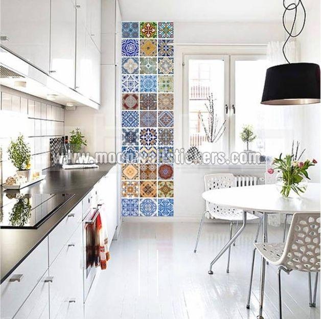 Surtido de 48 adhesivos para decoración de vinilo de azulejo  Diga adiós a los azulejos gastados!  Gracias a la excelente calidad, los vinilos se adaptan a cualquier superficie lisa, menos...