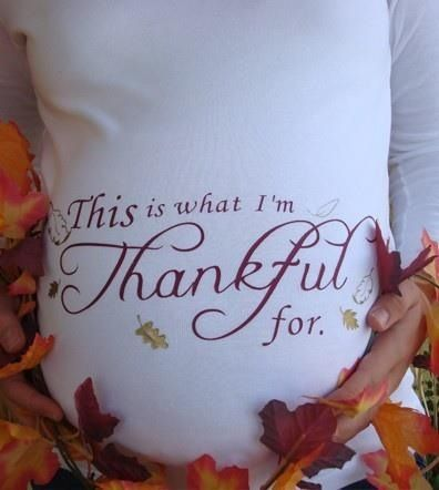 "Such a cute Fall Maternity Picture, except it should say ""this is what we're thankful for"""