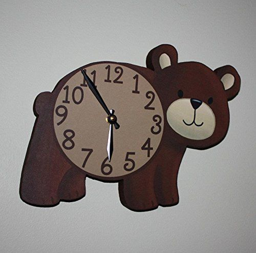 Brown Bear Woodland Forest Friends Animal Wooden WALL CLOCK Kids Bedroom Baby Nursery WC0079 * To view further for this item, visit the image link.