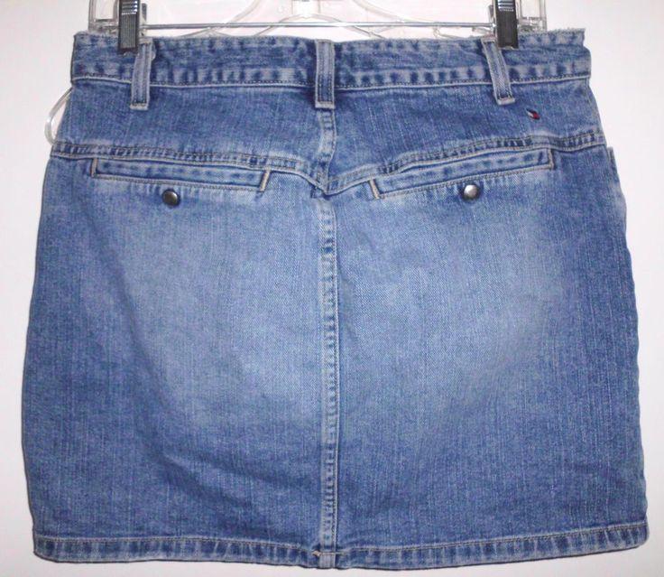 TOMMY HILFIGER Distressed 100% Cotton Blue Denim Jean Skirt USA Made Sz 8 Women #TommyHilfiger #Mini