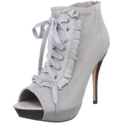 Gray peep toe boots.