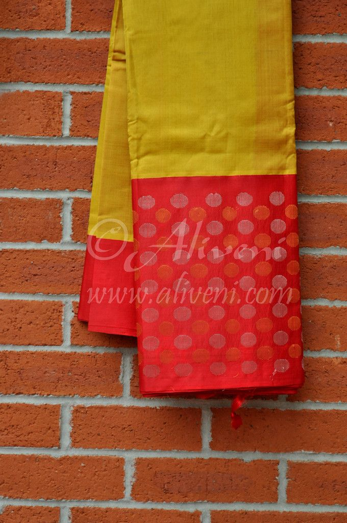 Mustard Yellow Kuppadam Saree with Broad Red Zari Balls Border