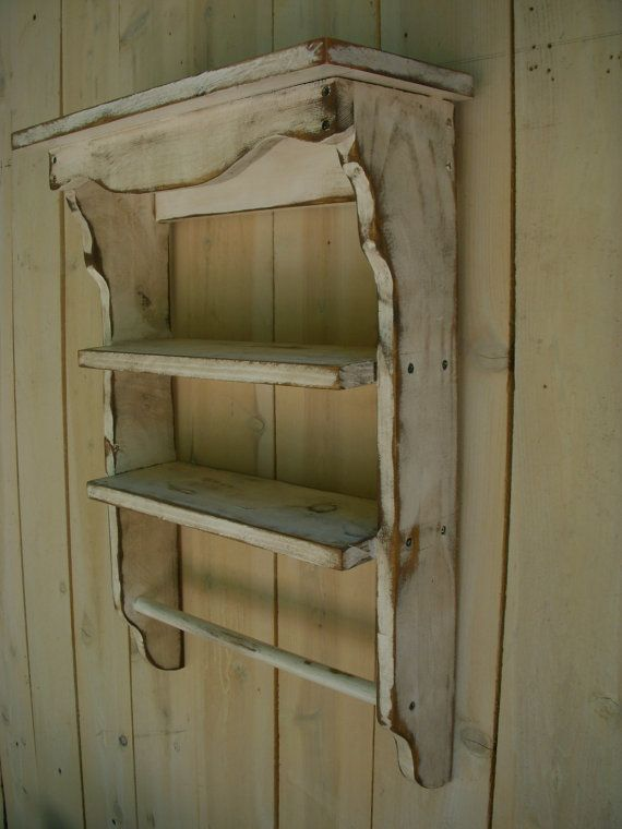 Wood Shelf Towel Holder Shabby French Country by honeystreasures, $115.00
