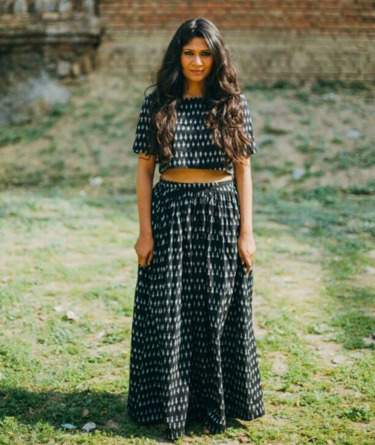 Black and white ikat crop top and skirt set by Nafisa Rachel William | The Secret Label