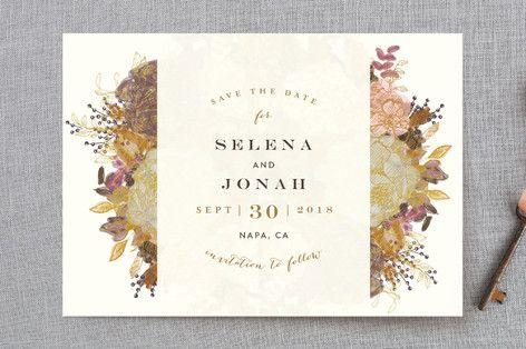 """Floral Runner"" - Floral & Botanical, Elegant Save The Date Cards in Gold Leaf by Phrosne Ras."
