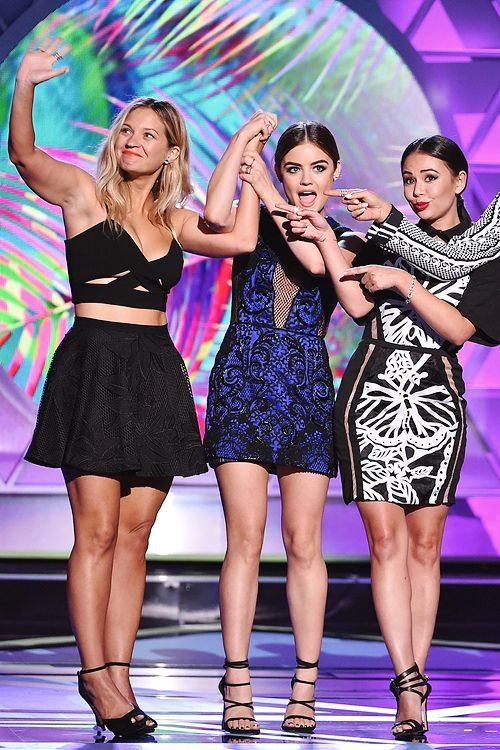 Lucy Hale, Vanessa Ray & Janel Parrish | Accept the Choice TV: Drama Show for 'Pretty Little Liars' onstage during the 2015 Teen Choice Awards (August 16th, 2015)
