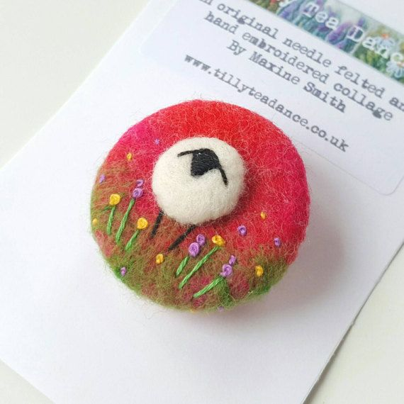 Check out this item in my Etsy shop felted and embroidered sheep brooch by Tilly Tea Dance https://www.etsy.com/uk/listing/497286339/handcrafted-wool-brooch-with-needle